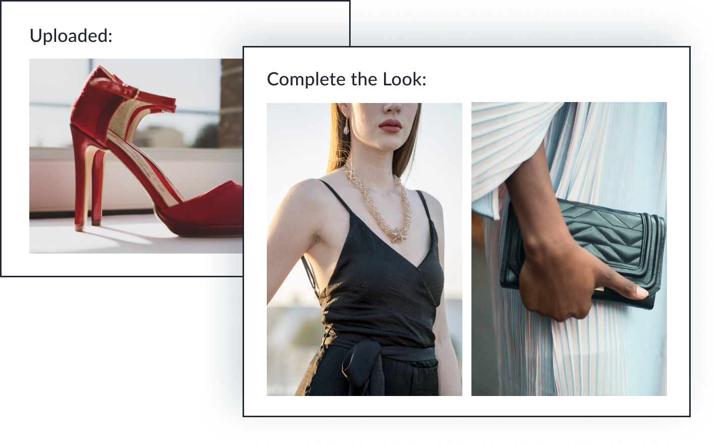 An image of a pair of red heels are uploaded. The AI stylist recommends a black camisole and black quilted clutch to complete the look.