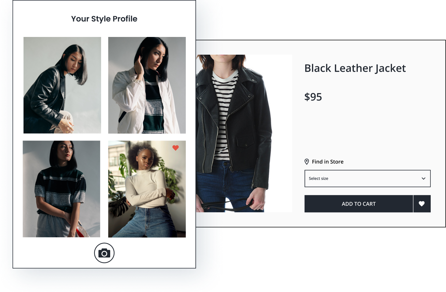 Based on 3 uploaded images and one favorited image in a style profile, a black leather jacket is recommended.