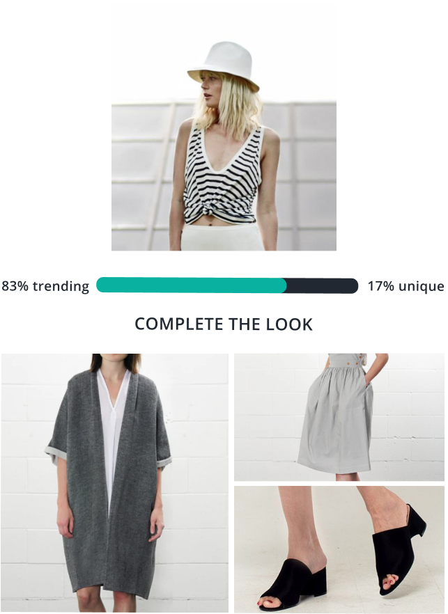 A woman wearing a striped tank. AI stylist suggest three products to complete the look, a drape jacket, grey linen skirt and black heeled slippers.
